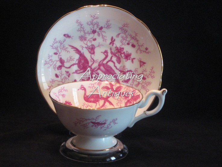 Vintage COALPORT Tea Cup & Saucer ~ Magenta Pink or Red Birds & Insects / Bugs | eBay