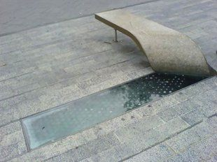peeled concrete bench as reveal for water element.