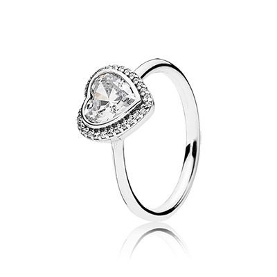 PANDORA | Heart silver ring with cubic zirconia