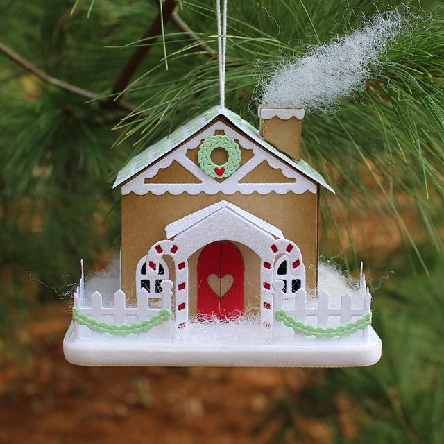 Gingerbread House Ornament by Lizzie Jones for Papertrey Ink (November 2016)