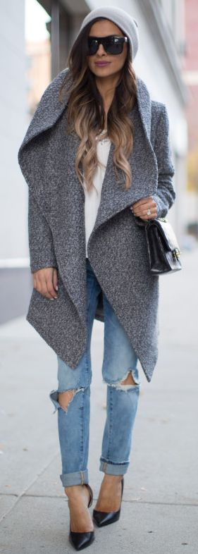 Mia Mia Mine Gray Waterfall Coat Fall Street Style Inspo