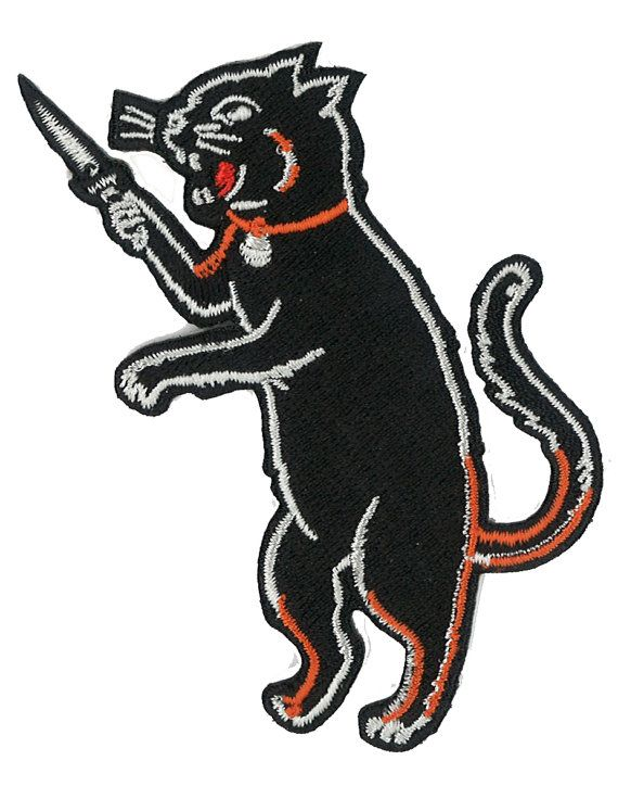 Cat Fink Iron On Black Cat Patch Switchblade by PsychoSwami