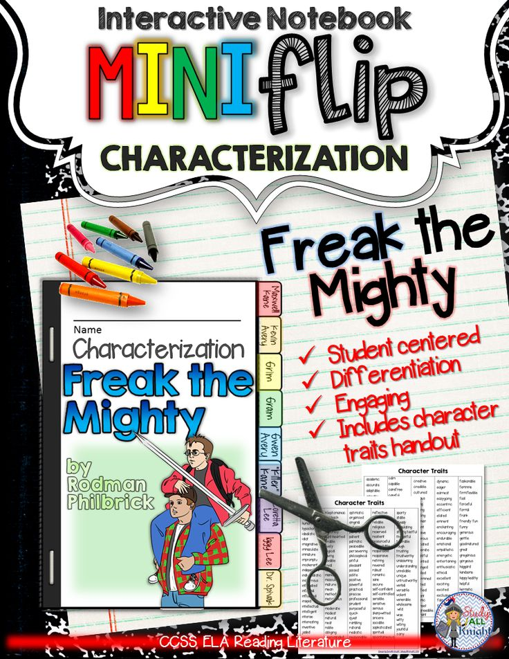 Freak the mighty interactive notebook characterization