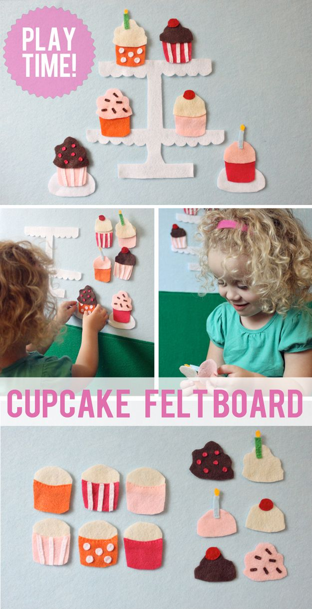 The Busy Budgeting Mama: Cupcake Felt Board.. 6 cupcakes with 6 frostings to mix and match! This would be good for a quiet book for Bug - @Kristi Budworth - I think your girls NEED this!!