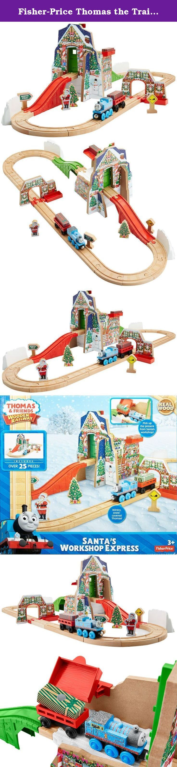 Fisher-Price Thomas the Train Wooden Railway Santa's Workshop Express [Amazon Exclusive]. With Thomas & Friends Wooden Railway Santa's Workshop Express, Thomas is helping Santa deliver presents from the north pole to the village below! Roll Thomas and his cargo car up to Santa's Workshop, load up a present and roll down to the village! Includes Thomas with special snow deco, a Christmas tree, Sir Topham Hatt as Santa Clause, Santa crossing sign, 2 presents, a cargo car, & North Pole sign.