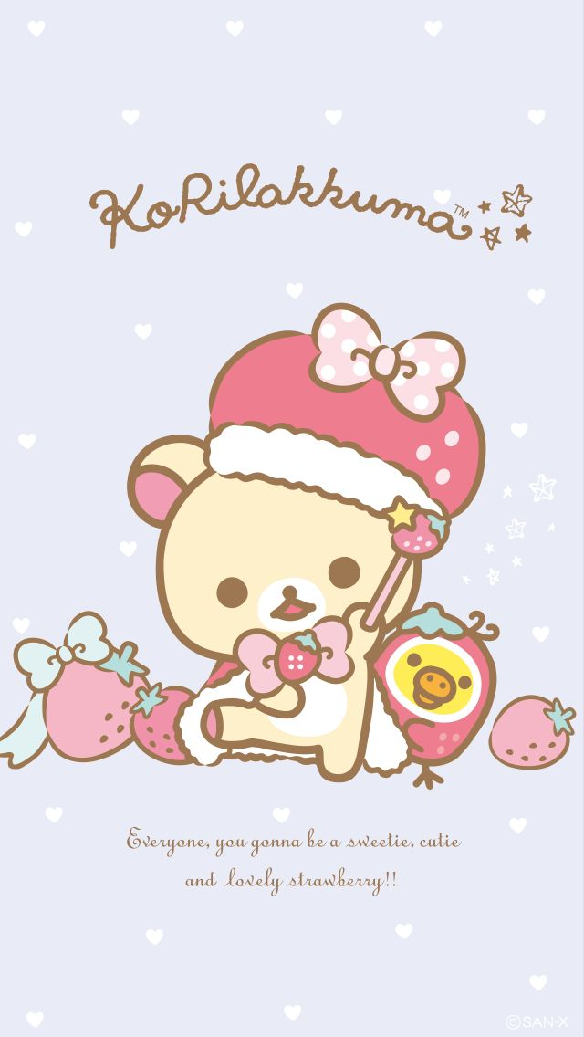 Korilakkuma StrawberryBunny Series Phone Wallpaper