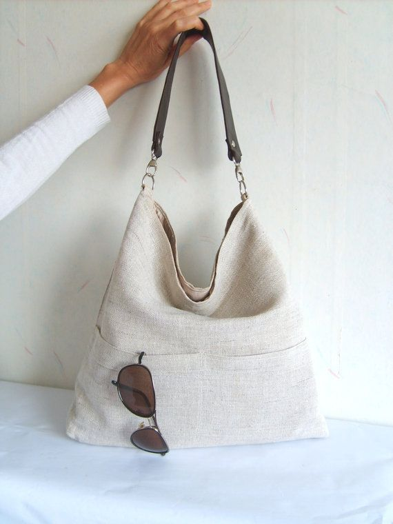 Linen tote bag Hobo tote bag light grey bag with by allbyFEDI, $40.00