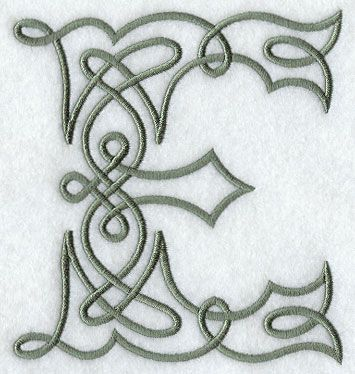 Celtic Knotwork Letter E - 5 Inch design (F9331) from www.Emblibrary.com