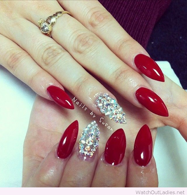 Stiletto Nail Art With Diamonds: Long Stiletto Red Nails With Diamonds
