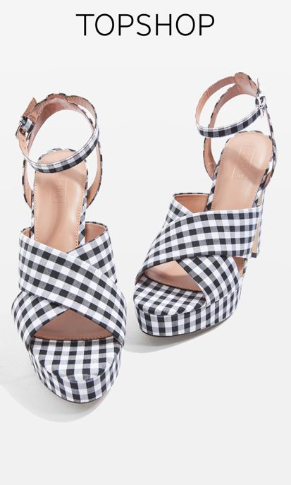 Stay on trend with these monochrome gingham platform heels.