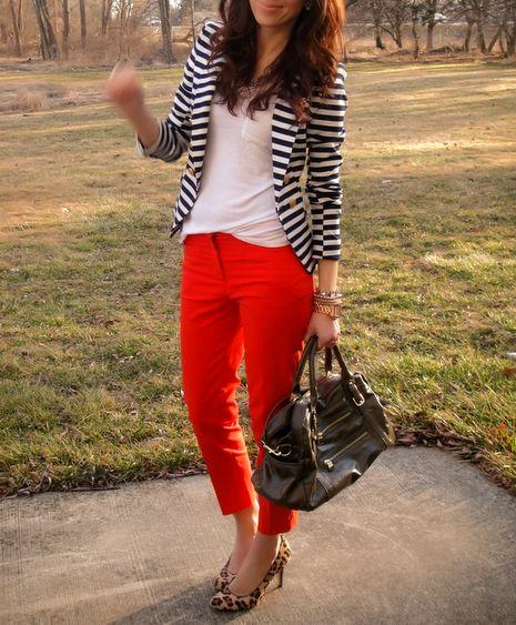 striped blazer and orange pants...