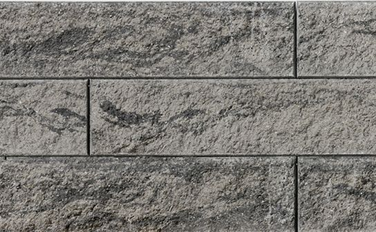 Proterra Greyfield Textured Wall by Oaks Landscape Products. Appropriate for freestanding, gravity and geosynthetic-reinforced walls.