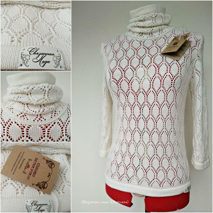 """Купить Вязаный кашемировый ажурный свитерок """"Пыльная роза"""" - кофта, свитер, кофточка, свитер с рисунком"""