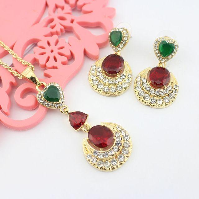 India menina bonita Colar Brincos conjunto de jóias de casamento com 18 de Ouro Pingente Charme mulheres acessórios de moda por atacado 2016