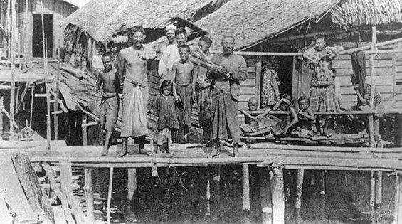 Malay kampongs along Kallang river, 1860s.