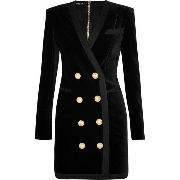 Balmain Stretch-cotton velvet mini dress ($4,000) ❤ liked on Polyvore featuring dresses, black, velvet dress, tailored dresses, mini dress, black mini dress and military fashion
