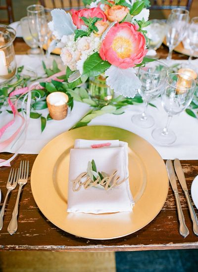 gold laser cut place cards | Jodi Miller