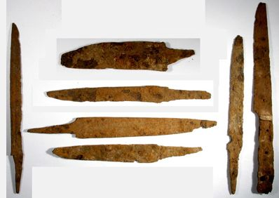 Medieval iron knife blades. 8th-13th century CE.  Found in Thrace / Macedonia. Measure between 11 and 16 cm long.