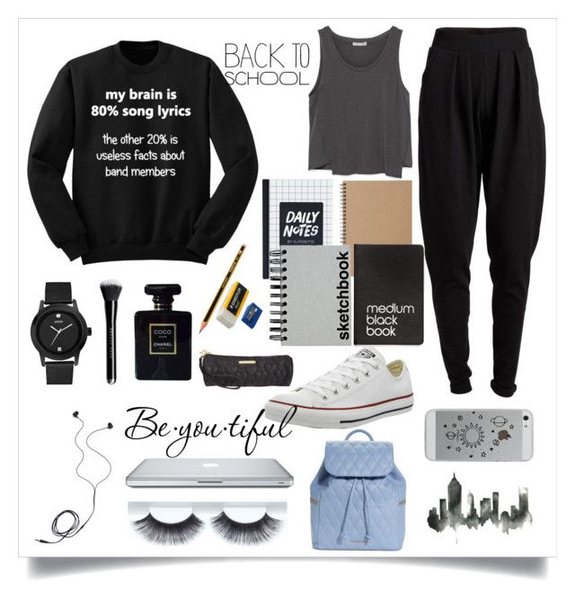 """""""Back to school"""" by estherlillymae ❤ liked on Polyvore featuring Zara, Pieces, Muji, Converse, Diane Von Furstenberg, Paperchase, Dinks, GUESS, Chanel and Schone"""