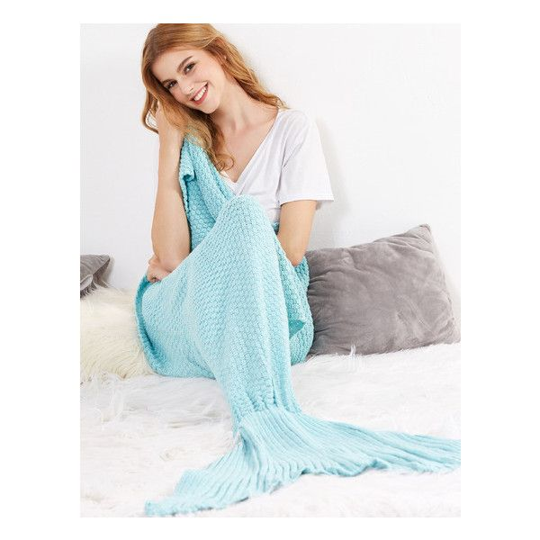 Light Blue Crocheted Fish Tail Design Mermaid Blanket ($24) ❤ liked on Polyvore featuring home, bed & bath, bedding, blankets, blue baby bedding, pale blue bedding, light blue blanket, light blue bedding and soft blue blanket