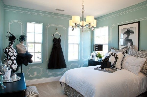 Tiffany blue bedroom! White detailing is awesome