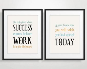 Office Decor Typography Posters Inspirational Quote Art Motivational Print Set Of 2