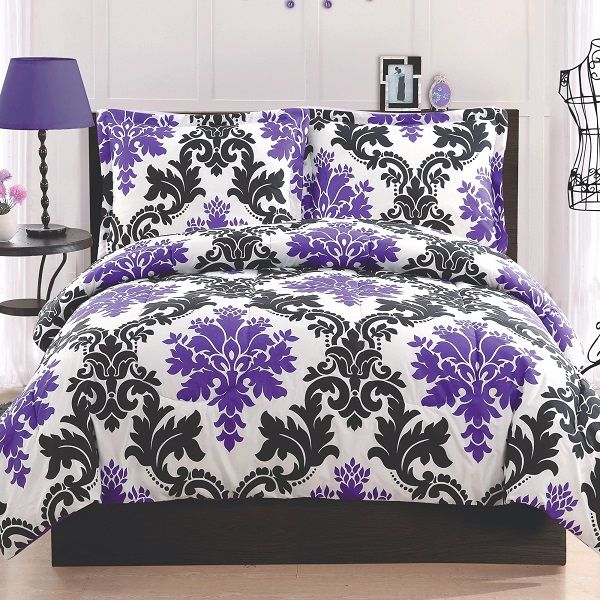 Purple and black leaf print bedding @Alyson Ross something for you?