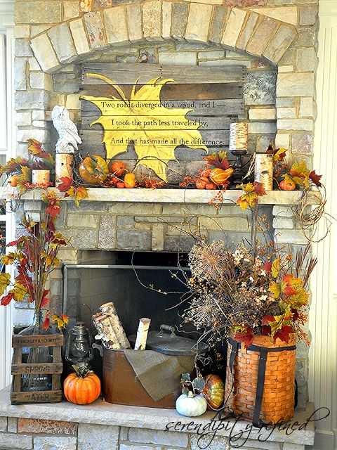 With vibrant oranges, reds, and yellows, this one-stop mantel can take you all the way through Thanksgiving.