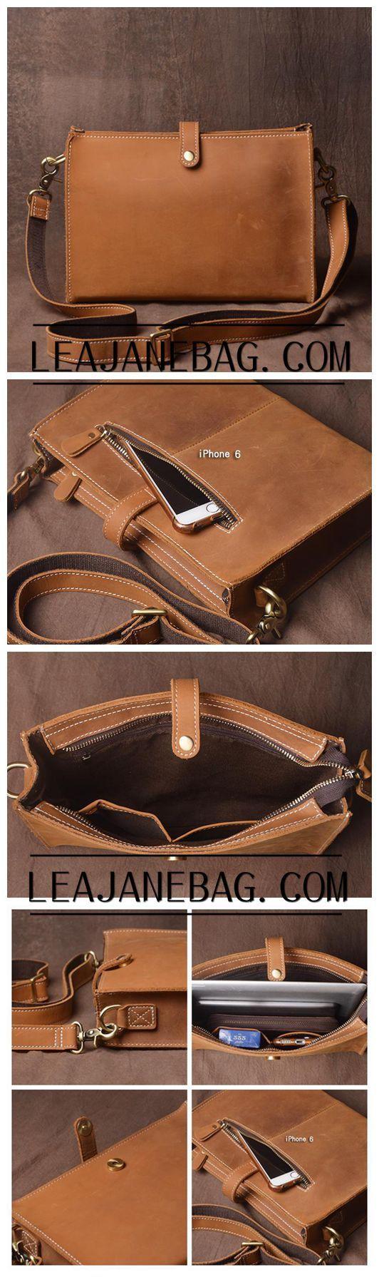 Brown leather Messenger Bag, Mens Shoulder Bag JZ017
