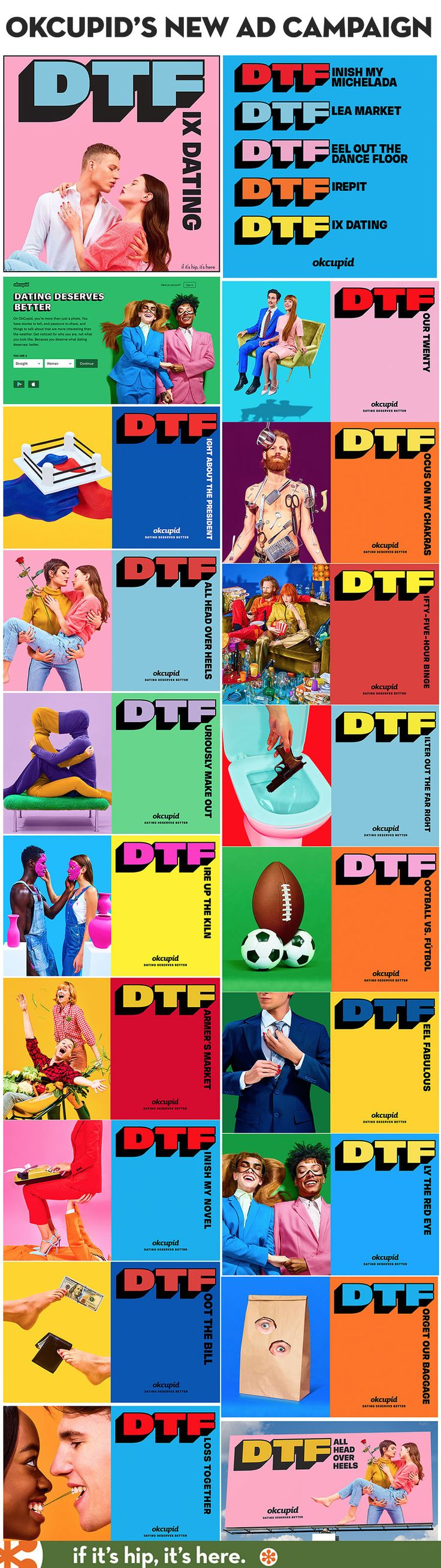 A look at the new ad campaign from Wieden+Kennedy for OKCupid. Learn all about it at http://www.ifitshipitshere.com/okcupid-dtf-campaign/