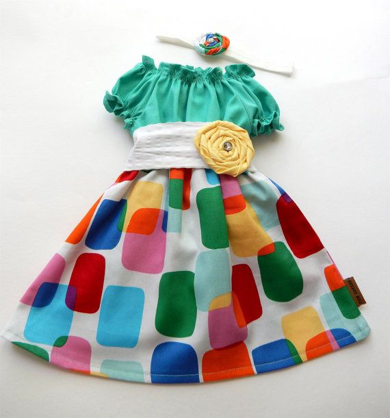 Party dress / pretty girl / headband by RawCottoncollection