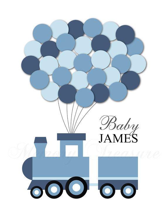 Baby Shower Guest Book Alternative Train Baby by MemoryTreasure