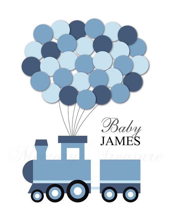 Baby Shower Guest Book Alternative Train Baby by MemoryTreasure