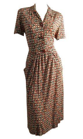 Matisse Inspired Novelty Print Jersey Rayon Dress circa 1940s - Dorothea's Closet Vintage