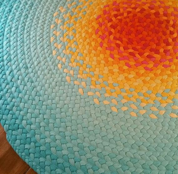 Recycled Hand Braided Round Area Rug --100% Cotton Floor Rug in Mint Green and coral, Yellow – 8 Sizes Available