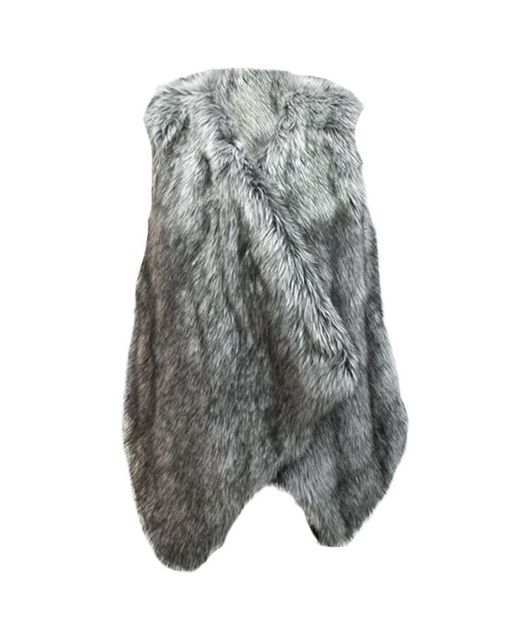 Asymmtric-hem Open-front V-neck Faux Fur Vest | BlackFive