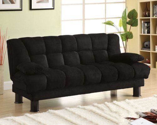 Versatility And Comfort Is What This Bonifay Black Finish Microfiber Futon Set All About Upholstered With Plush Covering