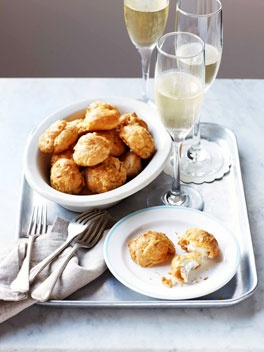 Thyme and Gruyère gougères with whipped goat's curd