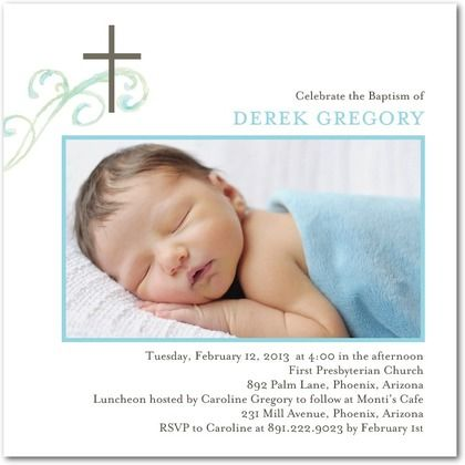 Baptism, Christening Invitations Brushed Flourish - Front : Sky
