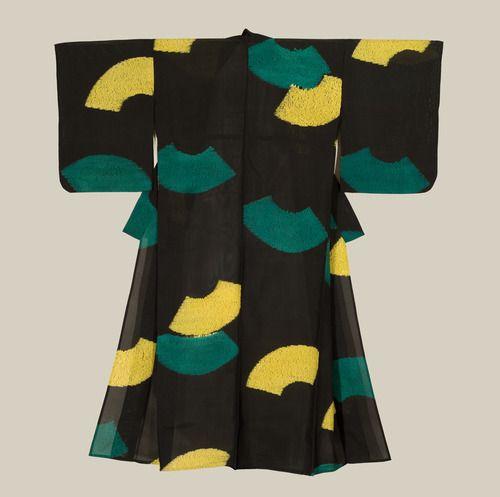 A sheer semi-transparent Ra unlined  silk summer kimono featuring shibori-technique stylized fan motifs.  Early-Showa Period (1927-1940), Japan.  The Kimono Gallery