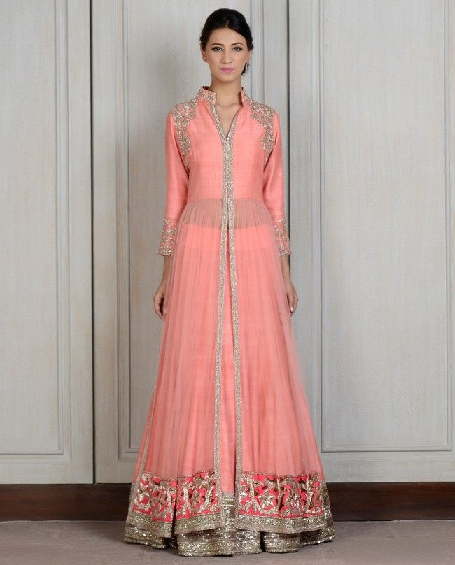 Peach color long anarkali jacket lehenga – Panache Haute Couture