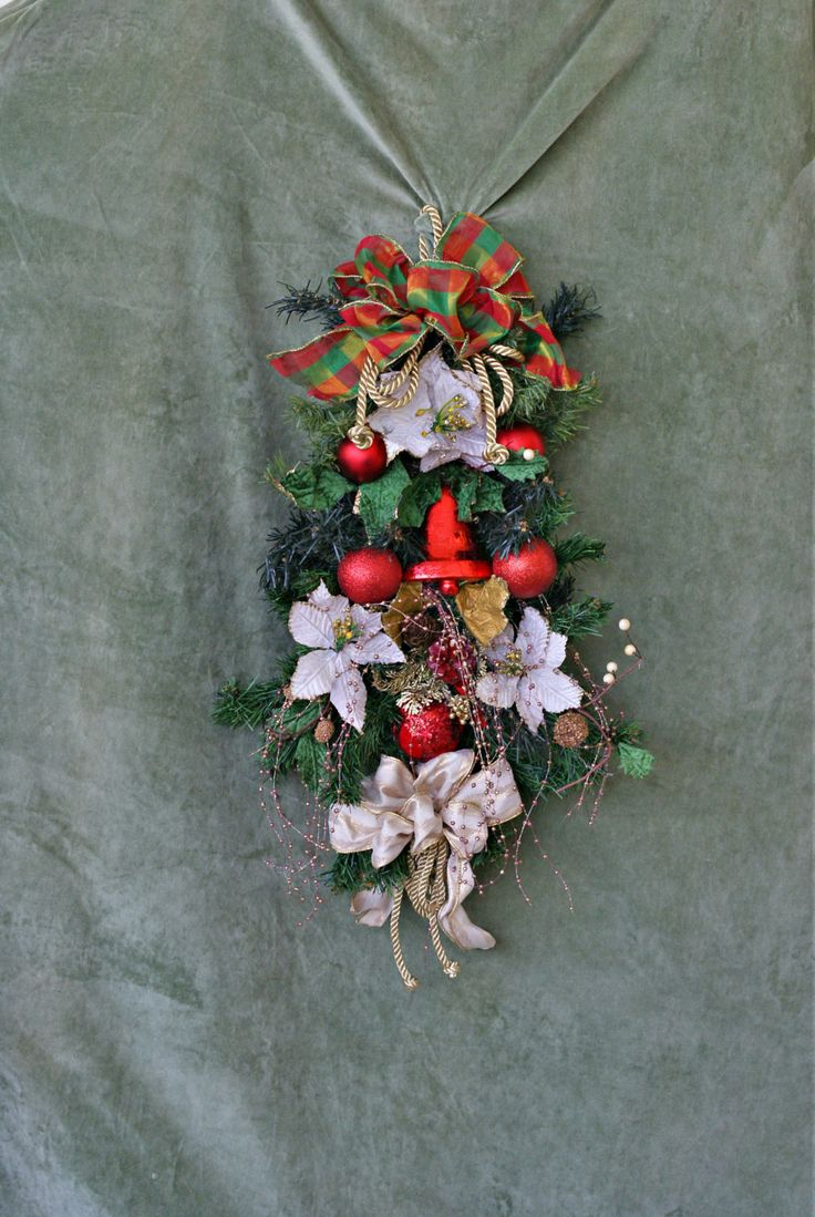 Christmas Wreaths For Front Door, Wreath Christmas, Door Wreath, Christmas Door Wreath, Christmas Accent, Christmas Decor, Door Hanger by VintageShopCreations on Etsy