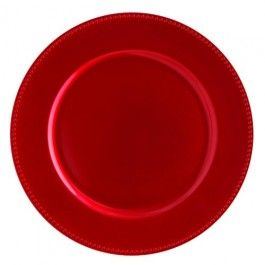 Gorgeous red beaded edged plate, perfect for underneath dinner plates, creating a luxury table finish 33x33 cm