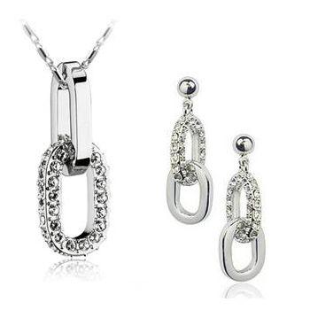 Круг сеть 18 К белый позолоченные серьги ожерелья комплект ювелирных изделий для пары подарки