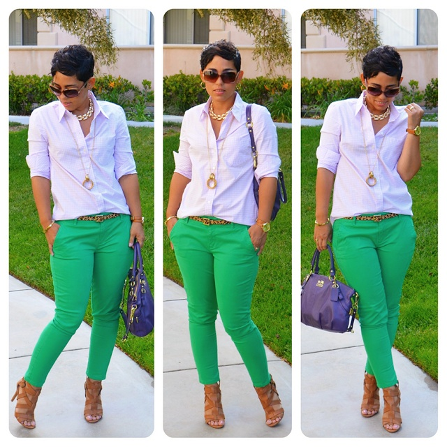 Purple Windowpane button down + green skinnies + natural sandal + purple bag + long & short necklaces