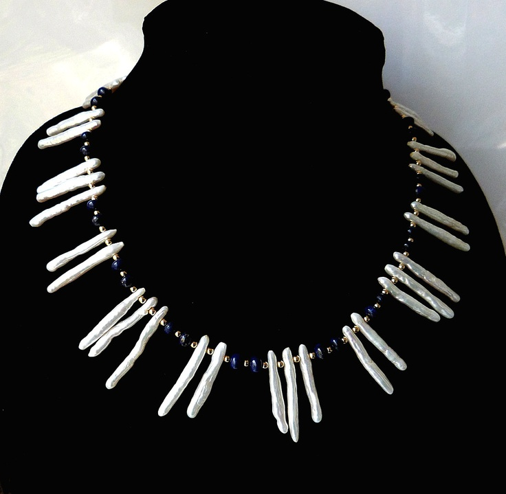 """Biwa Stick Pearl Statement Necklace Lapis Lazuli Gold Tribal Handmade Blue White: """"Queen of the Deep"""". $145.00, via Etsy."""