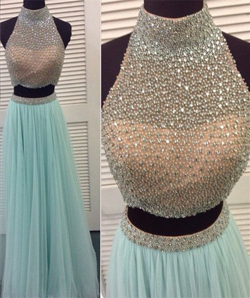 Two Pieces Beaded Long Prom Dresses,High Neck Bodice 2 Pieces Light Blue Prom Dress,Wedding Party Gown For Sweet 16 Dresses,Graduation Dresses ,Two Pieces Evening Dresses