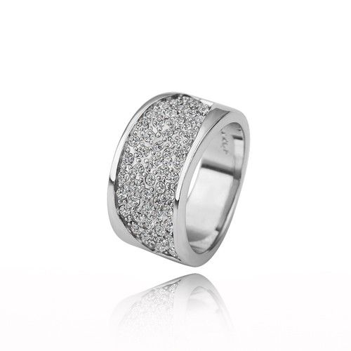 18K White Gold P & Czech Crystal Ring $17.49 #gold #ring #crystal