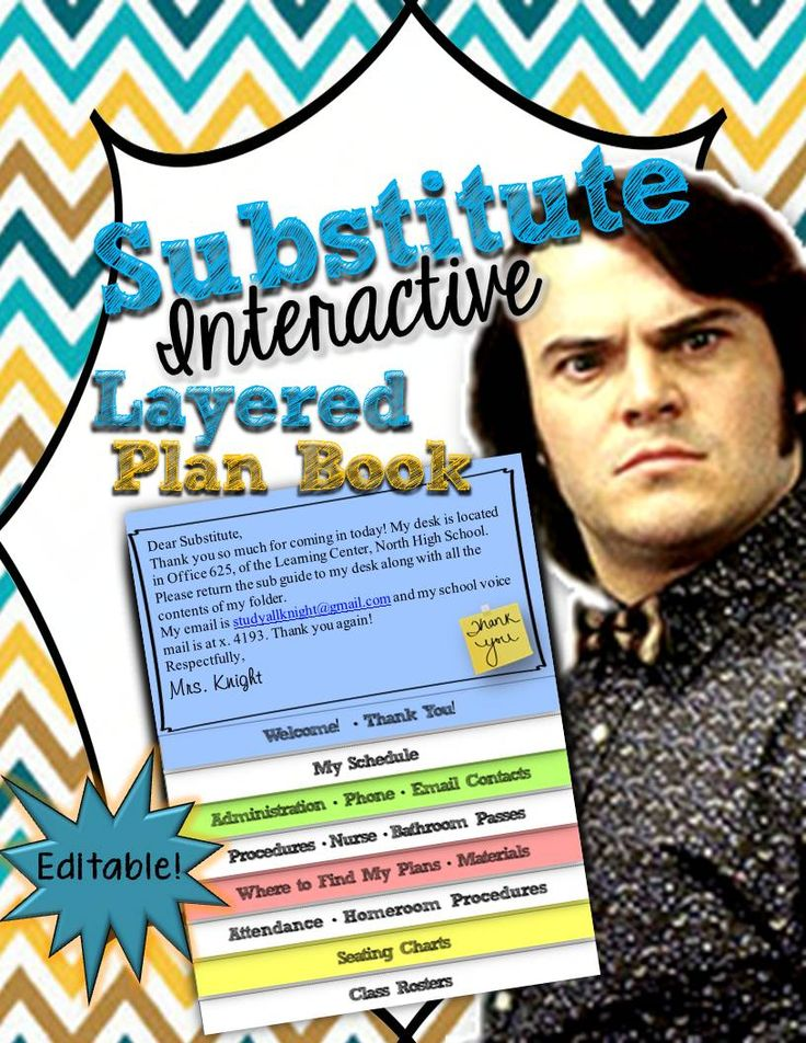 Substitute Teacher Editable Interactive Layered Plan Book- For secondary teachers to place in their sub folder. -Class Rosters -Seating Charts -Attendance • Homeroom Procedures -Where to find my plans • Materials -Procedures • Nurse • Bathroom Passes -My Schedule -Administration • Phone • Email Contacts -Welcome! • Thank You! Make one fold. Editable! Embedded images, you edit the text boxes.