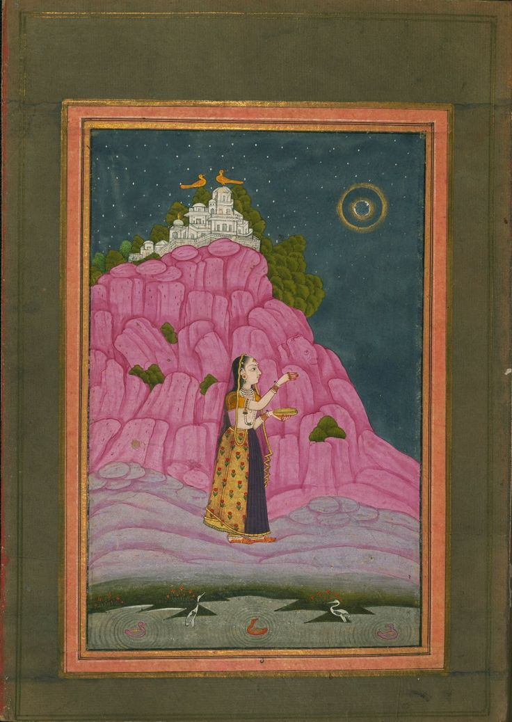 Garland of Ragas, late 13th century AH/19th CE - Female performing a ritual at night with a full moon.